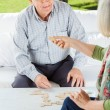 Senior Couple Playing Dominoes — Stock Photo #61682931