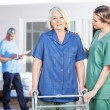 Nurse Assisting Senior Woman To Walk With Zimmer Frame — Stock Photo #61683341