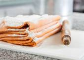 Flour On Ravioli Pasta Sheets With Rolling Pin At Countertop — Stock Photo