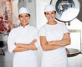 Female Butchers Smiling In Butchery — Stock Photo