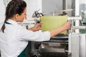 Female Chef Processing Ravioli Pasta In Machinery At Kitchen — ストック写真