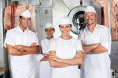 Butcher With Confident Team In Butchery — Stock Photo