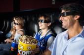 Happy Family Enjoying 3D Movie — Stock Photo