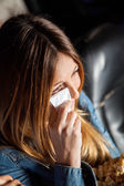 Woman Crying While Watching Movie In Theater — Stock Photo