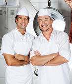 Butchers Standing Arms Crossed In Butchery — Stock Photo