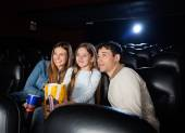 Family Watching Movie In Cinema Theater — Stock Photo