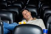 Bored Man Sleeping At Theater — Stock Photo