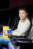 Man With Snacks At Cinema Theater — Stock Photo