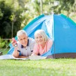 Senior Couple With Torch And Map In Tent — Stock Photo #64123431