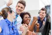 Cheerful Customer Service Representatives And Manager Celebratin — Stock Photo