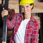 Female Engineer Wearing Hardhat In Workshop — Stock Photo #64659595