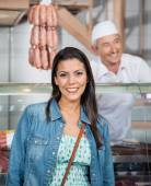 Beautiful Woman Smiling At Butchery — Stock Photo