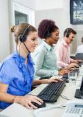 Customer Service Representatives Using Computers In Call Center — Stock Photo