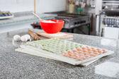 Unprepared Ravioli Pasta At Counter In Commercial Kitchen — Stock Photo