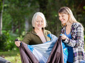 Smiling Mother And Daughter Assembling Tent In Park — Stock Photo