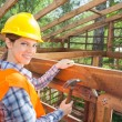 Happy Female Worker Hammering Nail On Timber Frame — Stock Photo #70268431