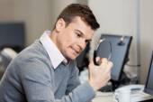 Frustrated Customer Service Representative Holding Headphones — Stock Photo
