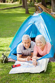 Senior Couple Studying Map At Campsite In Park — Stock Photo