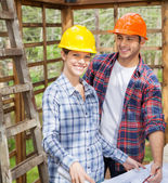 Happy Architect With Colleague At Site — Stock Photo