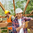 Construction Worker Cutting Wood With Handsaw At Site — Stock Photo #70961019