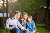 Family Spending Quality Time At Campsite — Stock Photo