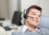 Smiling Customer Service Representative Wearing Headset — Stock Photo