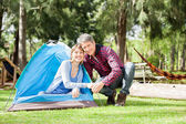 Romantic Couple Camping In Park — Stock Photo
