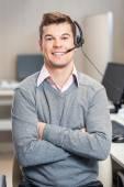 Confident Customer Service Representative Sitting In Office — Stock Photo