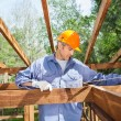 Construction Worker Measuring Timber Frame — Stock Photo #74979757