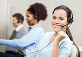 Beautiful Smiling Customer Service Representative In Office — Stock Photo