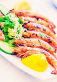Grilled shrimp (selective focus) — Stock Photo