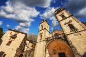 Wide angle photo of the Cathedral of St Tryphon in Kotor, Montenegro — Stock Photo