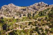 The ruins of the ancient fortress wall in Kotor, Montenegro — Stock Photo