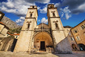 Wide angle photo of the Cathedral of St Tryphon in Kotor, Montenegro (April 10th 2015) — Stock Photo