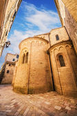 A wide angle shot of a church in Kotor Old Town, Montenegro — Stock Photo