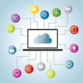 Cloud computing and social medias — Stock Vector