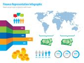 Financial infographic representation and world map — Stock Vector