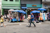 Tents of street vendors in the 25 March, city Sao Paulo, Brazil. — Stock Photo