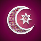 Islamic background with a new moon and star vector — Stock Vector