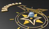 Gouden kompas met griekenland vlag geweven bol wijzen het woord bedrijf, afbeelding geschikt voor bedrijfsconcept — Stockfoto