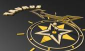 Golden compass pointing the taurus zodiac sign name — Stock Photo