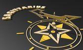 Golden compass pointing the saggitarius zodiac sign name — Stock Photo