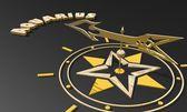 Golden compass pointing the aquarius zodiac sign name — Stock Photo