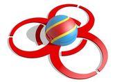 конго флаг текстурированной сфера в центре biohazard alert 3d красный знак — Стоковое фото