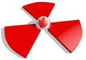 Canada flag textured sphere in the center of nuclear danger 3d red sign — Stock Photo