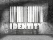 Cuarto vacío de bloques de hormigón con texto de identidad blanca y código de barras 3d — Foto de Stock