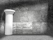 White column in empty interior — ストック写真