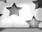 Stars geometry pattern in concrete room interior — Stock Photo