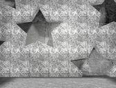 Stars geometry pattern in concrete room interior — Stockfoto