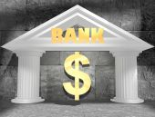 Concrete blocks empty room with white ancient bank building and money symbols — Stock Photo